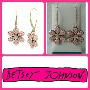 Betsey Johnson Gingham Flower Drop Earrings